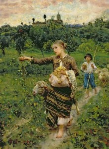 Francesco Paolo Michetti - Shepherdess Carrying a Bunch of Grapes