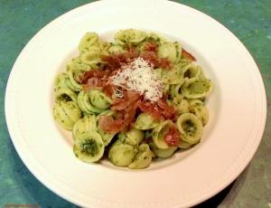 Basil pesto orecchiette with crispy prosciutto