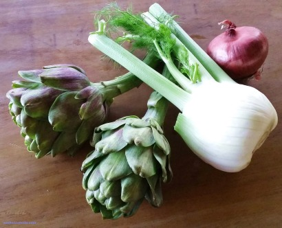 artichokes, fennel and red onion