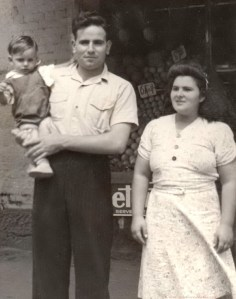 Annibale, Francesca and Remo outside shop